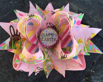 Chocolate Bunny Easter Eggs Bottlecap Hairbow