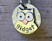 Teeny Owl Id tag for small dogs and cats -owl dog name tag