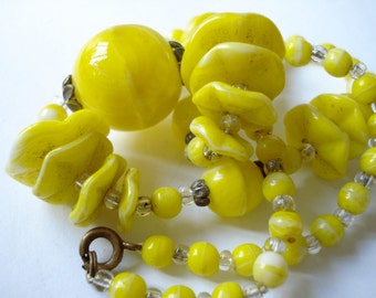 Art Deco Czech Necklace with Yellow Glass Beads 1920's 1930's