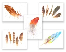 Feather Note Cards (five blank note cards w/envelopes)