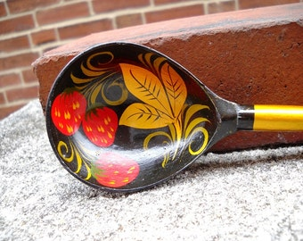 strawberry tole painted spoon russian 70s