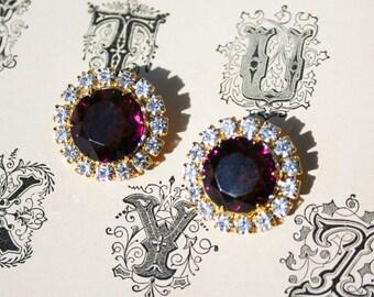 Vintage Royal Purple Gold Tone Rhinestone Earrings