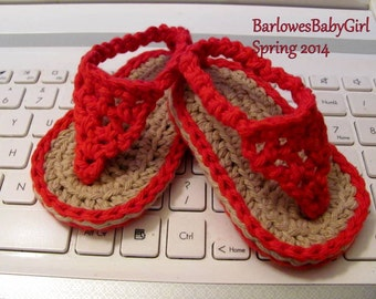 Buggs - Crochet  Baby Flip Flop Sandals in Bright Red or Pick Your Color
