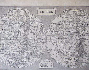 1924 STAR Map Print Hemispheres French