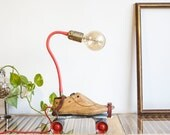 Table lamp, Steampunk lamp, Upcycled lamp, Roller Skates lamp, Wood shoemakers lamp, Vintage lighting, Cool lamp, StudiORYX, On sale lamp
