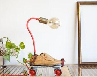 Table lamp, Steampunk lamp, Upcycled lamp, Roller Skates lamp, Wood shoemakers lamp, Vintage lighting, Cool lamp, StudiORYX, On sale lamp