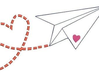 Paper Airplane Machine applique Design