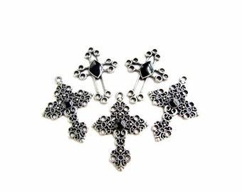 5 Antiqued Silver Black Enameled Cross Pendants