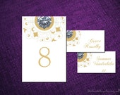DIY Table Number Printable PRECIOUS GEM Design Pdf Wedding Decor Setting Seating Sign Signage Card Cabochon Regency Vintage Ruby Emerald New