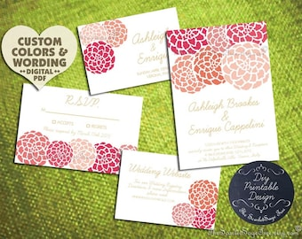 DIY Printable PEONY FLOWER Save The Date Design Pdf Wedding  Invitation Suite Program Paper Goods Engagement Party Bridal Shower 2016 Rustic