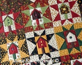 "Birdhouse Stars Wall Hanging ~ Hand Quilted ~ 36"" x 45"" ~ OOAK"