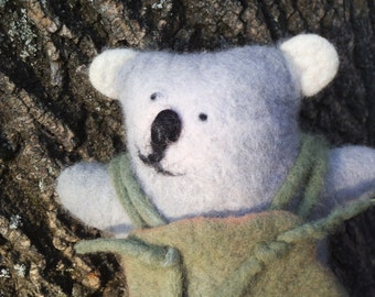 Unique felted woodland bear. Natural wool toy. Eco-friendly toy. Barnabas
