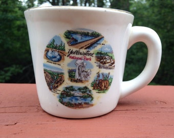 Yellowstone National Park cup or mug souvenir. Scenes of Yellowstone. Memento of Wyoming. Old Faithful collectible.