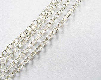 40 inches of 925 Sterling Silver Cable Chain 2x1.5 mm. Delicate Chain :th0513