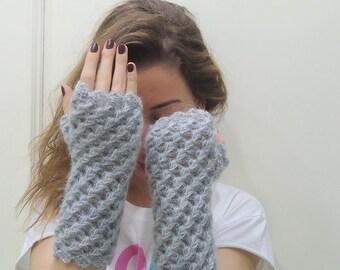 Crocheted,GRAY FINGERLESS GLOVE, mittens,arm warmer wool acrylic blend yarn