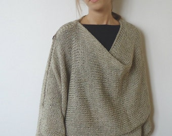 HAND KNITTED PONCHO-One Sleeve Shawl Capalet  Plus Size Over Size-beige handmade poncho