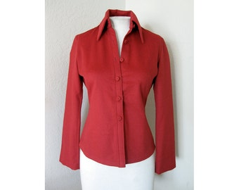 vtg SYBILLA Fitted SHIRT - Soft Rich Red Merino - S