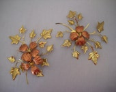 Vintage Tin Copper Flower And Gold Leaf Wall Hanging