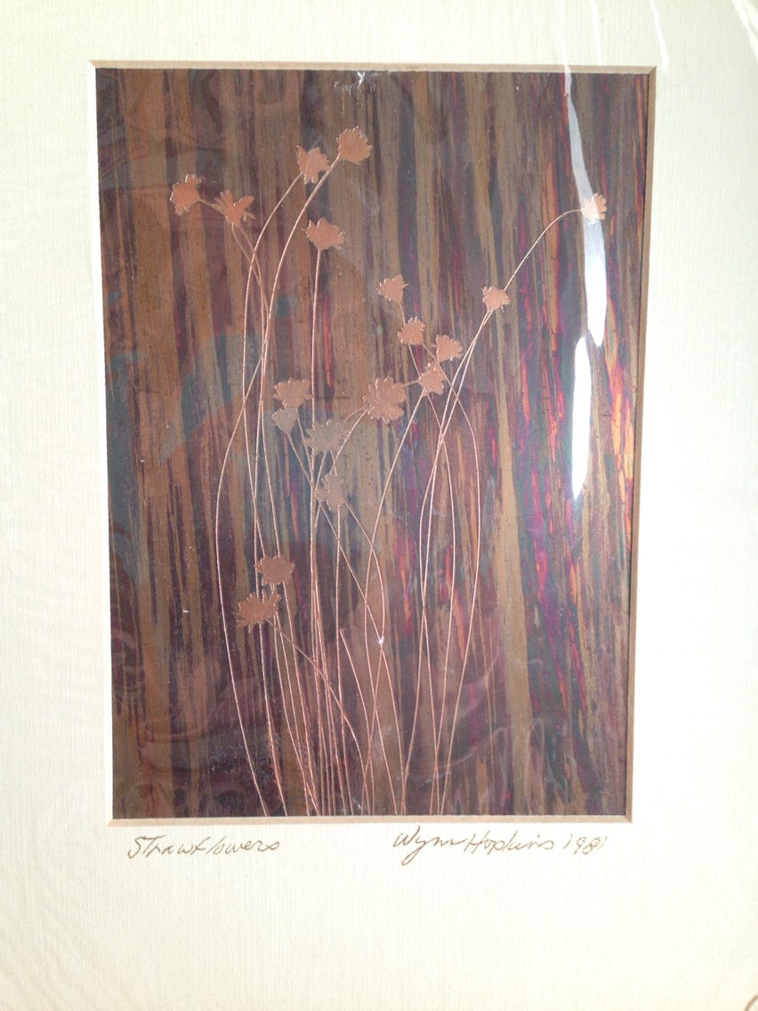 Vintage 1981 Copper Etching Of Straw Flowers Original Art By