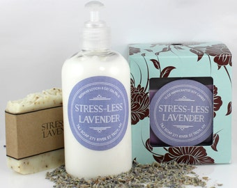 Lavender Gift Set, Natural Lavender Soap, 100% Soy Candle, Beeswax Lavender Lotion