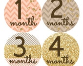 Gold Peach Baby Month Stickers FREE Baby Monthly Sticker Baby Month Milestone Sticker Baby Girl Bodysuit Sticker Chevron Glitter Effect 050G