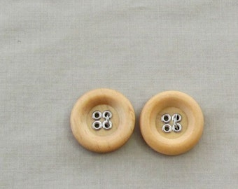 Wood Tone Buttons... Set of 2