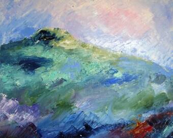Sunset  on,Eagle Hill - Original acrylic painting on canvas .