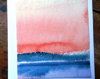 "watercolor art ""Twilight""  -  original fine art  painting mounted  on a card, Lovely card gift - suitable for framing"