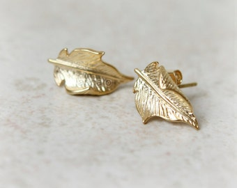 Forest Leaf Earrings / choose your color, gold and silver
