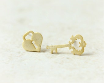 Key and Heart Lock Earrings / choose your color, gold and silver