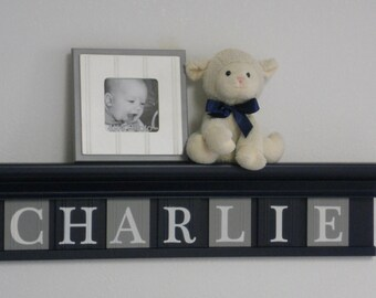 """Navy Gray Personalized Children Nursery Wall Decor 30"""" Navy Blue Shelf with 7 Wood Letter Plaques - CHARLIE"""