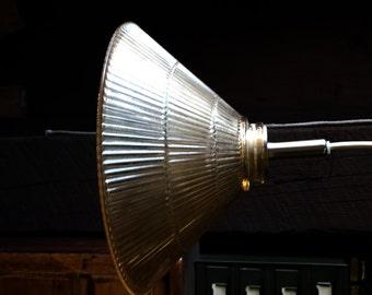 Vintage Optical Glass Shade Hanging Lamp, Kitchen Lamp, Holophane Lamp