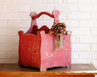 Vintage Red Trug Magazine Holder - Wooden Log Carrier - Rustic Front Porch Decor