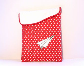 iPad Case, iPad Sleeve, iPad Cover, Padded  case -Paper air plane polka dot sleeve