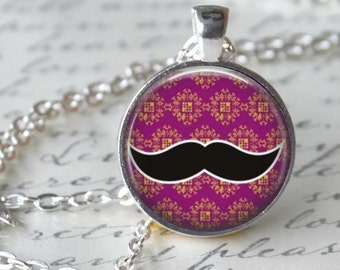 Mustache Necklace - Pink Charm - Free Chain or Keyring (028)