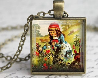 Little Red Riding Hood Necklace - Charm - Free Chain or Keyring (301)