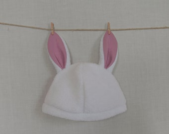 White rabbit hat with bunny ears - Ready to ship