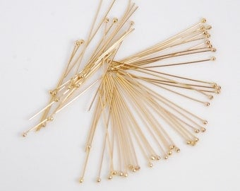 50 pcs: 14K gold filled ball end head pin, 1 inch long, 26 gauge, with 1.3mm ball end