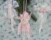 Handmade Shabby Christmas Mini Ornament Set of 3
