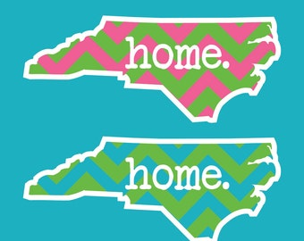 chevron home state vinyl sticker, your choice of state and color