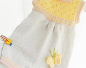 Knitted cotton baby romper, beige and yellow baby romper, summer baby rompe, baby fashion, READY TO SHIP