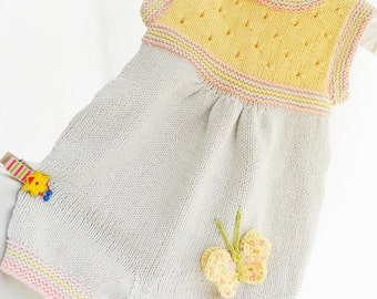 Discount! Knitted baby romper, cotton baby jumpsuit,  beige and yellow baby romper, summer baby rompe, baby fashion, READY TO SHIP