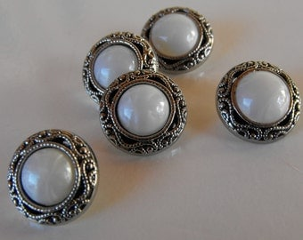 "15 Silver Swirl with Pearl Center Round Shank Buttons Size 13/16""."