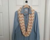 Crochet Infinity Chevron Scarf-Woman's Neck Warmer-Girls Cowl-Teen Scarf-Cream-Ivory