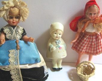 Take 20% off Vintage Dolls; Lace Maker, Little Red Riding Hood & Celluloid String Doll Tri-Petal Stamp Japan