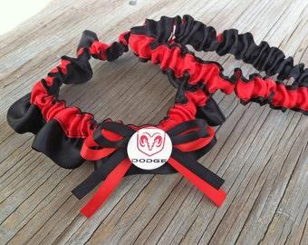 Dodge Inspired Black & Red Satin Bridal Wedding Keepsake Or Garter Set