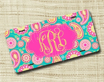 Monogram License Plate, License Plate Frame, Personalized License Plate, Paisley 1