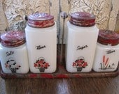 Vintage Milk Glass Spice Shakers with Rack