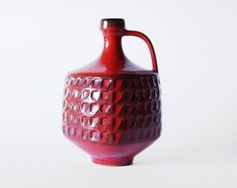 Modernist  West German Red Vase Pitcher - Waechtersbach 1950s
