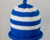 PDF PATTERNS:  2-Pattern Package Of Original Hand Knit Baby Hat Designs For Babies, Toddlers & Children